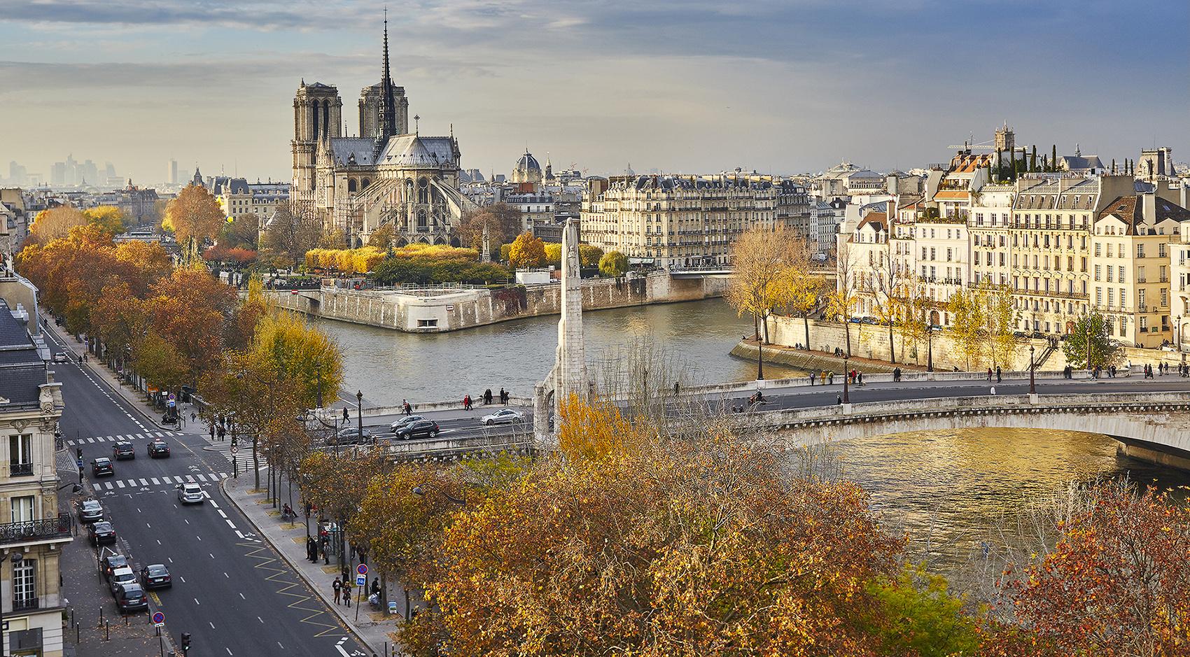 Notre-Dame de Paris on a bright fall day
