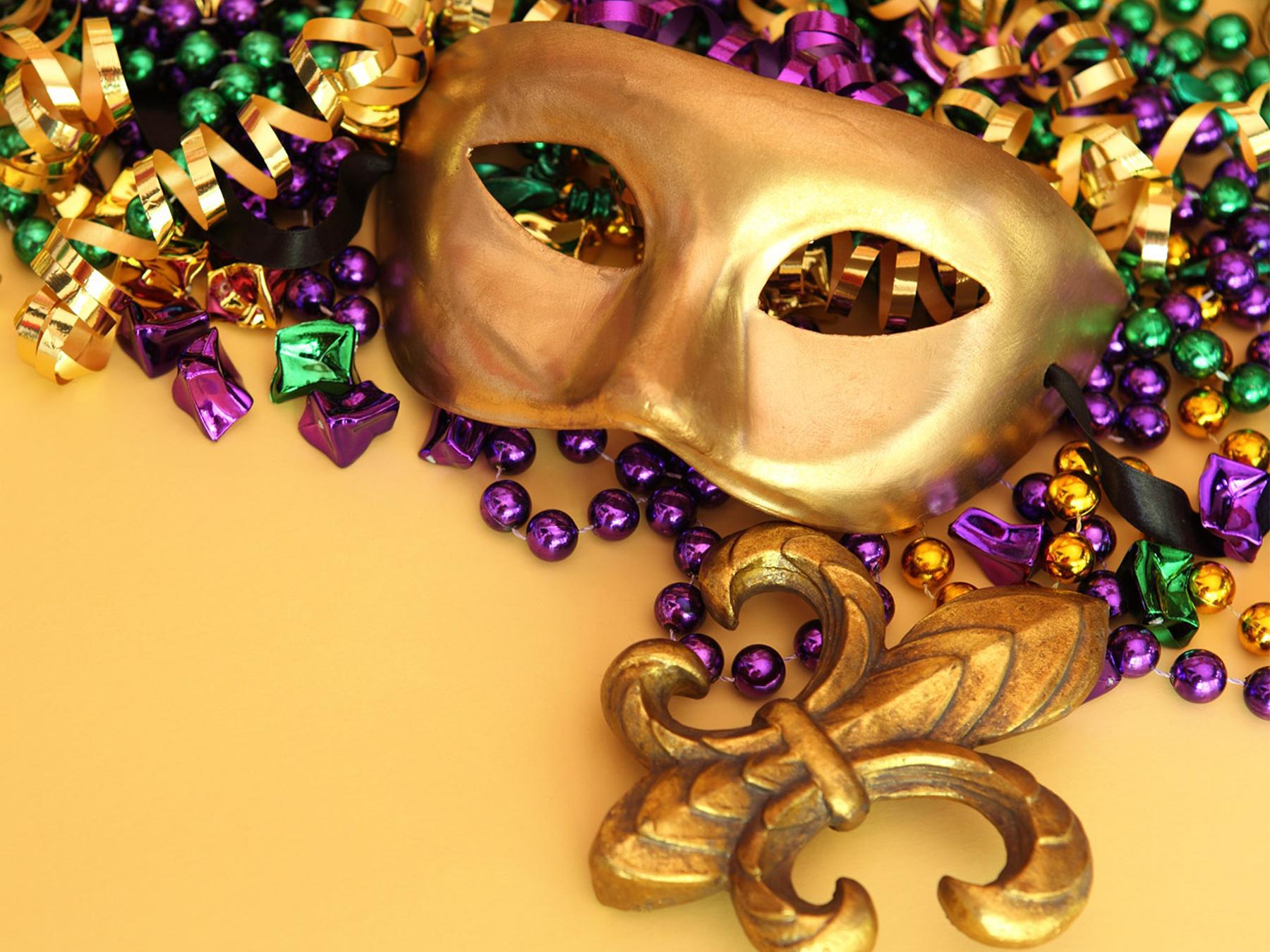 NOLA new orleans mask beads fleur de lis cajun
